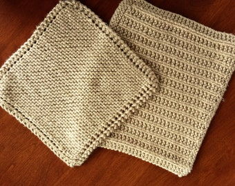 Dish Cloth - set of 2 - Dish Rag - Cotton Cloth - Hand Knit - Just like Grandma made - Solid color