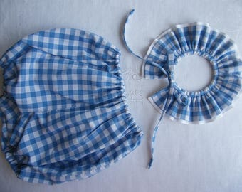 All Bloomer and neck pierrot in gingham blue or grey 3/6/12/18 months to 2/3 years