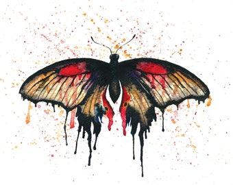 Mormon Butterfly ink watercolour painting art print watercolour