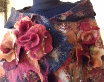 Nuno felted scarf/ shawl felting wool luxury/To order you can choose the colors