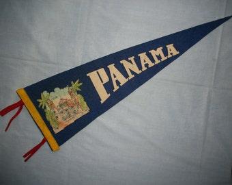 Panama Souvenir Pennant Cathedral Plaza Vintage Felt Pennant
