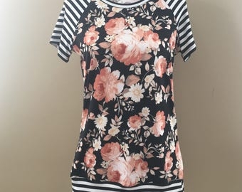 READY TO SHIP - Floral/Stripe Women's Raglan - Size M