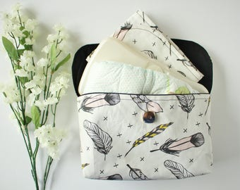 Happy Feathers Diaper Clutch with Changing Mat