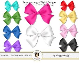 Coloured Bows, Digital Scrapbooking. Bow Scrap Kit Collection CU4CU