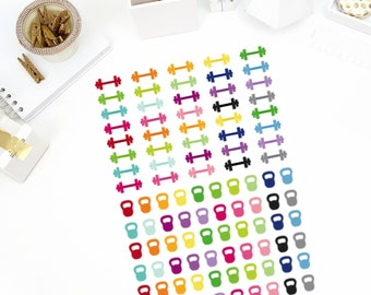 Dumbbell/Kettlebell Stickers! Perfect for your Erin Condren Life Planner, calendar, Paper Plum, Filofax!