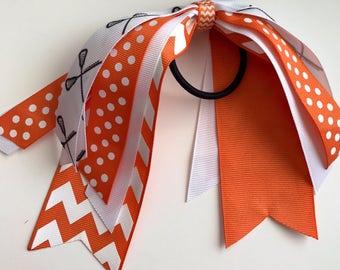 Lacrosse themed ponytail streamer