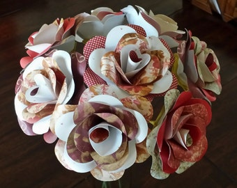 Paper bouquet - first (paper) anniversary bouquet/Wedding memento - 8 paper flowers with stems