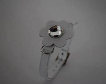 White leather collar and rhinestone for small dog, made in Italy