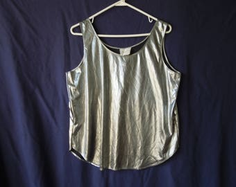 90s Silver Shiny Anxiety Tank Top