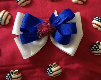 Blue and white Hair Bow