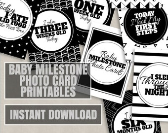 Baby Milestone Printable Cards, Baby milestone photo props, monthly baby mile stone photo cards, printable baby shower gift, new baby photos