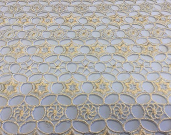 Beautiful White Chemical Lace With Metallic Star and Floral Design