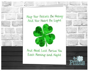 St Patrick's Day Card, An Irish Blessing, 4 Leaf Clover, Shamrock Card, Holiday Greeting Card, Instant Download, Digital Printable, 5x7 Card