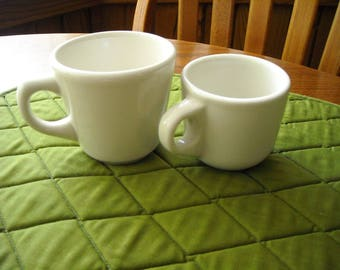 Restaurant Ware Buffalo China Coffee Cups Bone Lg. And Sm. By Allegheny - Heavy (2)
