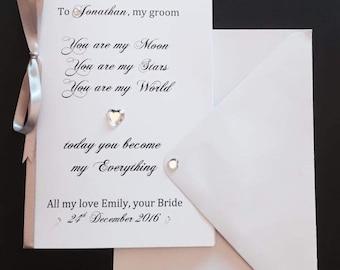 beautiful wedding grooms card all personalised