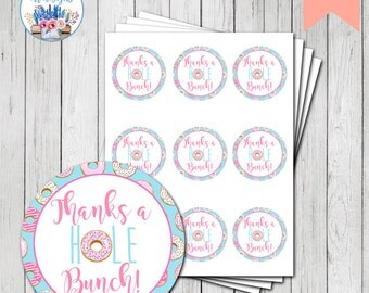 Donut Party Favor Tag, Donut Birthday Party, Doughnut Favor Tag