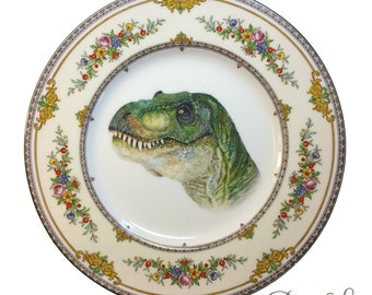 Vintage - Illustrated - Dinosaur - T Rex - Plate - Upcycled - Wall Display - China - Floral - Altered - Antique Plate
