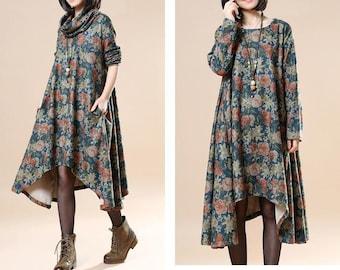 Floral Winter Fleece Dress Long Women Dress Thick Thermal Women Warm Winter Dress Custom Made