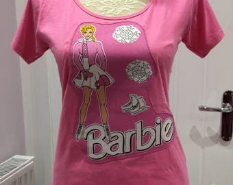 Retro Style Barbie Customised Appliqué T-shirt UK size 12