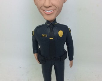 Policeman Bobble Head Police Personalized Bobble Head Clay Figurines Police Birthday Police Cake Topper Boyfriend Husband Father Son Gift