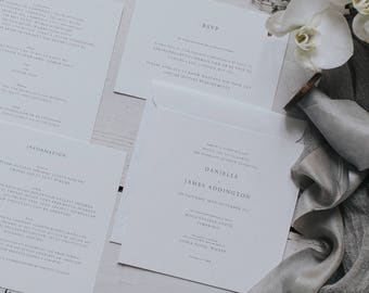 Printed Simple, Classic and Elegant Wedding Invitation Set. Wedding Stationery with Invite, Information Card, RSVP & Envelope.