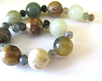 Group of beads, Serpentine beads, Czech glass, earthy colors,  23 beads, Jewelry supply B-1637