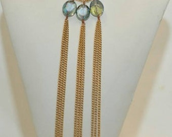 Oval Green Crystal Gold Chain Handmade Statement Necklace
