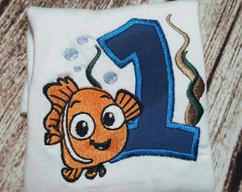 Fishy 1st birthday shirt - girl - boy - Fish