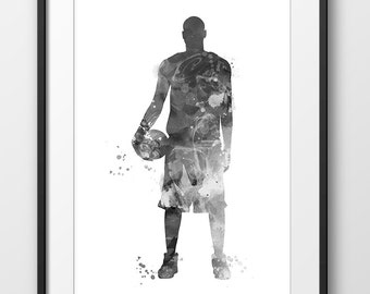 Basketball Player Black and White Print No4, Basketball Poster, Basketball Nursery Decor, Basketball Watercolor Art, Sport Poster (A0496)