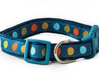 Blue Polka Dot Dog Collar