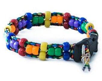 Rainbow Beaded Cat Collar
