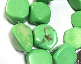 Green Howlite Nugget Beads 18mm, Spring Green Stone Beads, Stone nugget beads, 18 mm stone bead