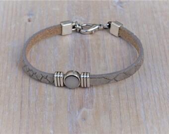 Ladies croco leather bracelet with slider, naturel, green, blue,gray,black