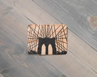 Wooden card, Brooklyn Bridge print, Reclaimed wood, NYC art, Block print card, Wood art, Purple lotus, Keepsake card, Custom message card