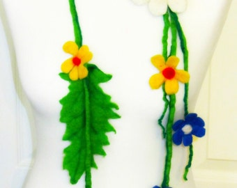 Necklace felted wool flowers