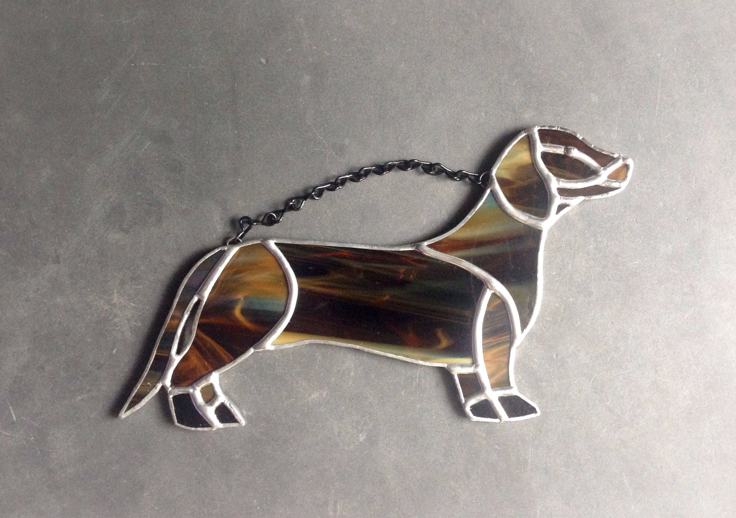 Personalized pet ornament - Dog Art Dog Lover Gift Dachshund Decor Sausage Dog Brown Dachshund