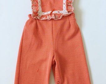 Vintage Carter's Red Lace Bib Polyester Overalls 12-18 months
