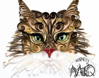 Custom Quilled Cat Portrait