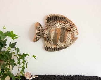 Ceramic Fish Wall Decor | Wall Sculpture | Animal sculpture 3D Wall Art Decoration | Fathers day gift for him | Boyfriend, men gift for boss