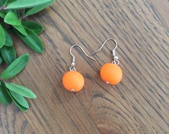 Orange drop earrings. Orange jewellery. Gift for her. Polymer clay earrings. Modern earrings