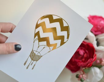 Gold Foil Hot Air Balloon (8x10 or 5x7), Girls Nursery Decor, Hot Air Balloon Nursery, Hot Air Balloon Decorations, Hot Air Balloon Print