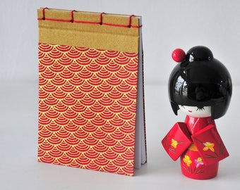 Japanese Notebook, small, hand bound, Chiyogami paper, waves, red, gold, stab binding - Journal, Diary, Sketchbook, Travel Book
