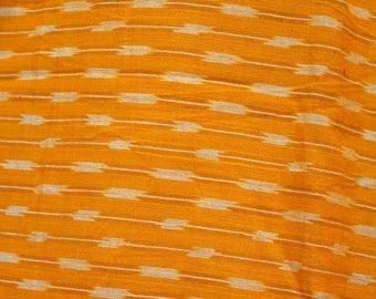 Indian Handloom Orange Ikat Cotton Fabric Ikat Fabric by yard for Home Decor, Homespun Ikat for cushion covers, Handwoven Ikat