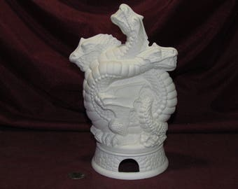 Ceramic Bisque U-Paint 3 Headed Dragon Smoker Incense Burner Unpainted Ready To Paint DIY Mystical Fantasy