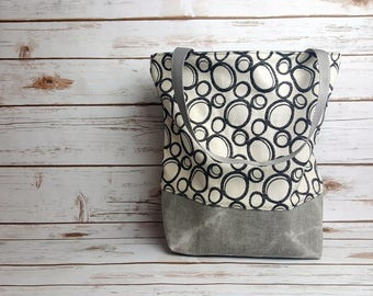 Handmade tote bag/upholstery fabric/waxed denim/canvas