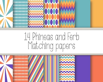 14 Phineas and Ferb Matching digital  papers.