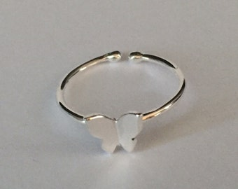 Butterfly sterling silver adjustable ring-Butterfly ring-sterling silver butterfly ring