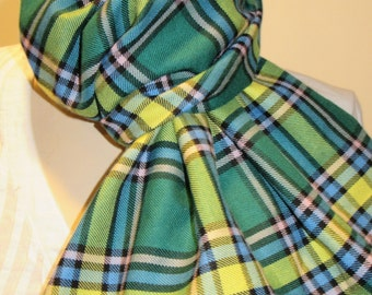 Alberta Tartan Plaid Fringe Scarf~Hand Made Scarf Green Yellow Fringe Scarf~Long Scarf Gift Men's Fringe Christmas Gift Scarf @sohoskirts