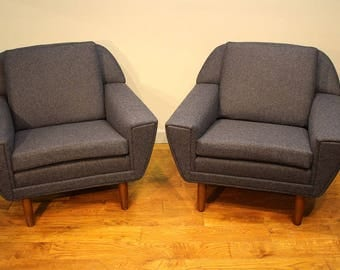 A pair of Upholstered Vintage Armchairs