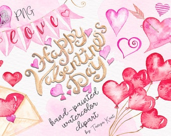 Valentine Clipart, Hearts Clipart, Watercolor Clipart, Love Clipart, Valentine's Day Clipart, Commercial Use Clipart, Watercolor hearts